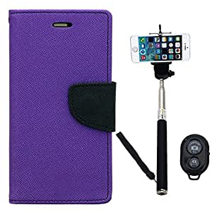 Aart Fancy Diary Card Wallet Flip Case Back Cover For Samsung J7 - (Purple) + Remote Aux Wired Fashionable Selfie Stick Compatible for all Mobiles Phones By Aart Store