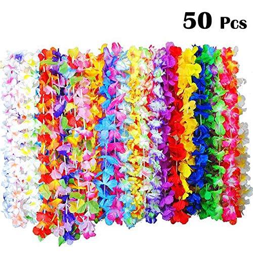 BangShou 36er, 50er, 100er Hawaiikette Blumen Halskette Girlanden Lei für Kleid, Party , Strand und Geburtstagsparty (50)
