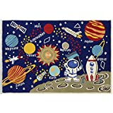 100% Original GuzelWorld Carpets For Kids Room - Kids Themed Hand Carved & Tufted Area Rug, 4' X 6', Multi-color Galaxy Themed On Light Blue Base