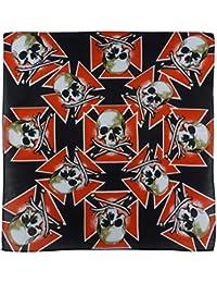 Black Bandana Bandanna Scarf With Skull And Crossbones On An Iron Cross Bikers Festival
