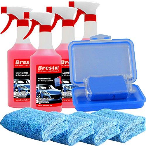 Brestol Reinigungsknete Set3 200 g Knete blau mittelstark + Box + 4X 750 ml Spezial GLEITMITTEL + 4X Poliertuch - Polierknete Lackknete Clay-Bar Auto-Lack-Knete - entfernt Baumharz Insekten u.v.m.