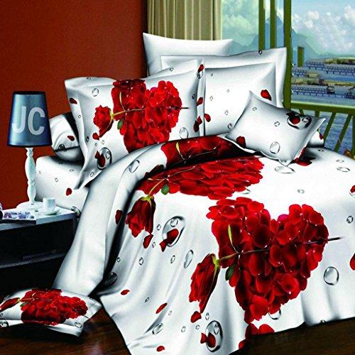 Herzförmiger Bettbezug Set (yifutang 3D-Effekte-Bettwäsche 4 Stück Set Herzförmig Rose Blumen einschließen Bettbezug (200 * 230cm) Blätter Kissenbezug Polyester Geeignet für einzelnes Doppelbett, B)