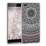 kwmobile Hülle für Huawei P8 - TPU Silikon Backcover Case Handy Schutzhülle - Cover klar Indische Sonne Design Rosa Weiß Transparent