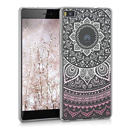 kwmobile Crystal Case Hülle für Huawei P8 aus TPU Silikon mit Indische Sonne Design - Schutzhülle Cover klar in Rosa Weiß Transparent