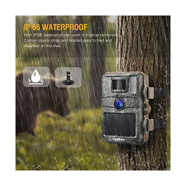 """Campark Trail Camera 14MP 1080P Wildlife Camera Night Vision Motion Activated up to 20M with 2.4"""" LCD 44 Pcs Invisible IR LEDs IP66 Waterproof Design for Wildlife Hunting and Home Security"""