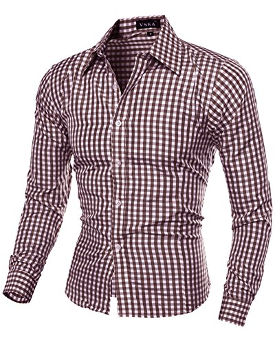 Hemd Herren Langarm Klassisches Kleinen Kariert Hemden Slim Fit Shirts 5843 Kaffee