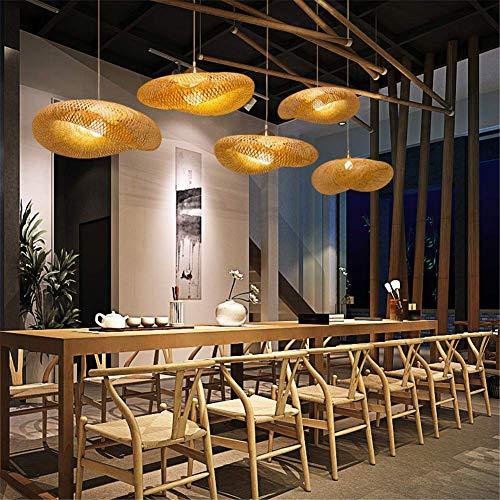 Kronleuchter Einfache Mode Handgewebte Bambus Hängeleuchte Chrom Unterputz Deckenbeleuchtung Kreative Welle Hut Design Diy Gras Reben Wicker Lampenschirme E27 Pendelleuchte, 80 Cm,100cm