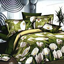 Anself 4Pcs Juego de ropa de cama de 3D impreso de patrón de tulipán blanco sobre fondo verde de tamaño de rey/tamaño de reina de funda edredón+Hoja de cama+ 2 fundas de almohada