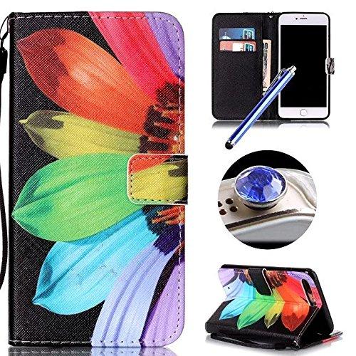Etsue Handytasche für iPhone 7 Plus (5.5 Zoll) 2016 schwarz, Brieftasche Hülle für iPhone 7 Plus (5.5 Zoll) 2016 [Sonnenblume] Muster Lederhülle Handyhülle Einzigartig Flip Hülle Leder Schutzhülle Vin Sonnenblume
