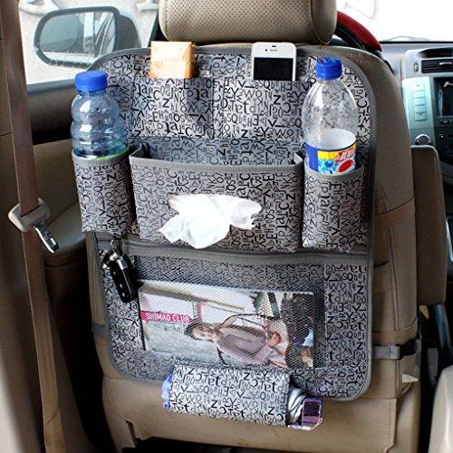 FakeFace Auto Rücksitz Organizer Aufbewahrungstasche Rückenlehnentasche Rücksitztasche Organizer Utensilientasche Rückenlehnenschutz Ablage Speicherbeutel für Flaschen Magazin Schirm (Grau)