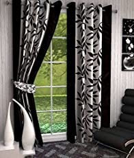 Abstract Eyelet Polyester Curtains for Door 7 Feet, Black, Set of 2
