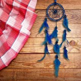 #10: ILU Dream Catcher Wall Hanging Handmade Beaded Circular Net with Feather Decoration Ornaments Size 7.5cm Diameter Blue