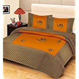 "Fecom King Size Rajasthani Marwari Jaipuri Sanganeri Cemal Patch Work Design 100% Cotton Double Bedsheet With Pillow Covers 100""X102"" – Bule Gold"