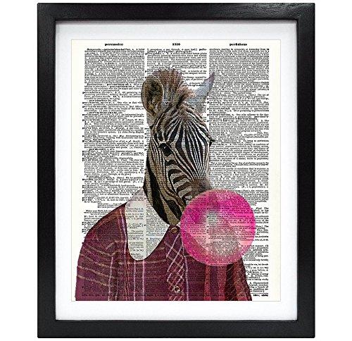 Susie Arts 8x 10ungerahmt Zebra Blasen Pink Bubble Gum Bubble aus recycelten Vintage Wörterbuch Kunstdruck Buch Art Print Home Decor Funny Art Wand V154