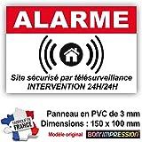 Panneau de Dissuasion Alarme en PVC + 4 Trous pour Fixation avec Texte : Site sécurisé par télésurveillance…