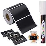 ONUPGO Étiquettes de tableau-180pcs Autocollants de Tableau Noir réutilisables imperméables avec 1 marqueur de Craie Liquide