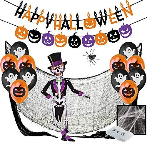 Halloween Deco Decoration Kit XXL – Happy Halloween Banderole Banniere, Citrouilles Guirlande, Ballons Noir Orange Avec Fantomes, Toile d'Araignees, Araignee Geante, Squelette Articule, Tissu Effrayante Noir