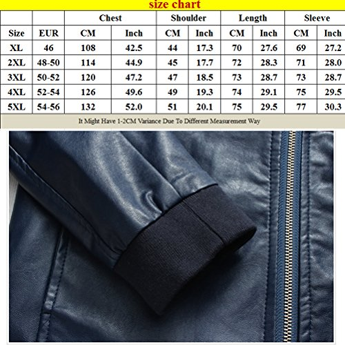 Zhhlaixing Mode Mens Long Sleeve Jackets Windbreaker PU Leather Outerwear Black