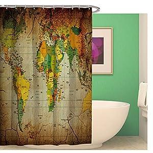 Original Mapa del Mundo de ducha cortinas n-incomparable Acuarela baño cortinas resistente al agua–Cortina de ducha (antimoho para baño cortina con 12anillos de cortina de ducha