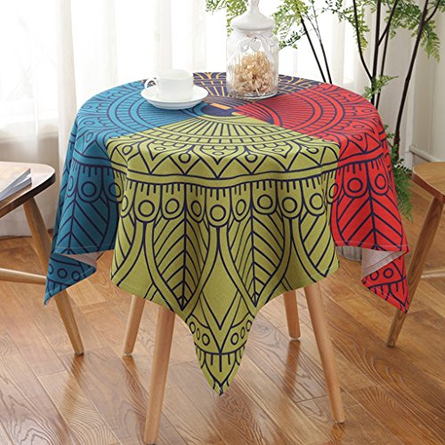 CJH Ländliche Folk-Art-Baumwolltuch-runde quadratische Tischdecke-Tabelle kreativer staubdichter Abdeckungs-Tischdecke ( Color : Rings ) - Teal Serviette Ring