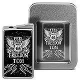 Feuerzeug mit Namen Tom - personalisiertes Gasfeuerzeug mit Design Route 66 - inkl. Metall-Geschenk-Box