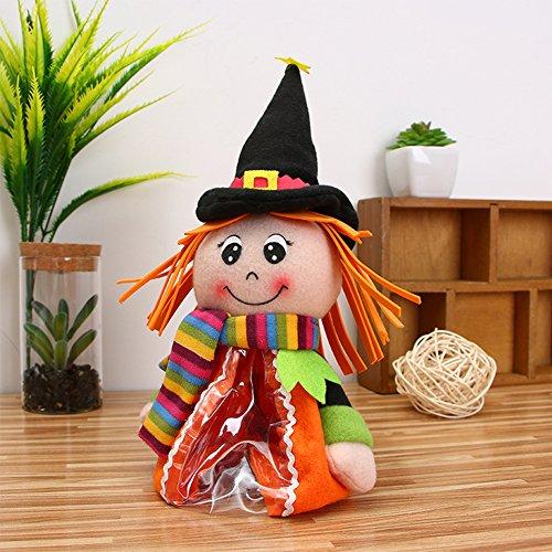 Zantec Halloween Plüsch Süßigkeits Beutel Nette Puppe Süßigkeiten Glas Plätzchen Speicher Flaschen (Gruselige Smiley Maske)