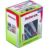 fischer DUOPOWER 12 x 60 S, universele pluggen met veiligheidsschroef, 2-componenten pluggen, kunststof pluggen voor bevestig