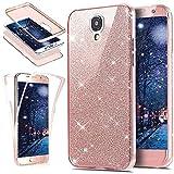 SainCat 360 Grad Silikon Hülle Glänzend Glitzer Komplettschutz Schutzhülle Vorder und Rückseiten Durchsichtig Handyhülle TPU Gel Beidseitiger Weiche Case Schale für Samsung Galaxy S4 (Rosa)