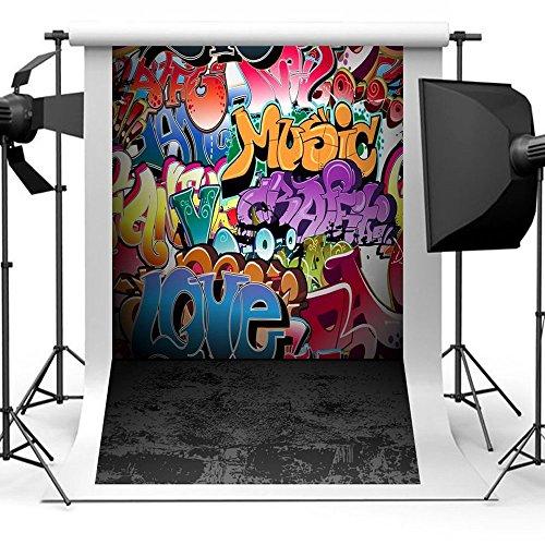 Aisnyho Graffiti Fotografie Hintergrund Requisiten Foto Booth Kulisse Vinyl Hintergründe für Studio Video Bilder HipHop 1,5*2,1m/5×7ft