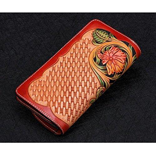 Xiaopangzi main Porte-monnaie en cuir véritable Portefeuille Sculpté Wallet Floral pour les filles et les femmes (A) E