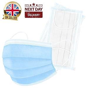 Lot de 50 masques de sécurité médicales triple épaisseur en polypropylène Bleu