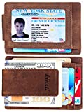 Kinzd Money Clip Front Pocket Wallet Leather RFID Blocking Wallet (Khaki (Updated Id Window Crazy Horse Leather))