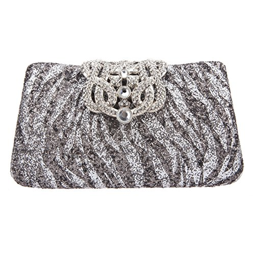 Bonjanvye Glitter Zebra Pattern Crown Clutch Purses and Evening Bags Gold Silver