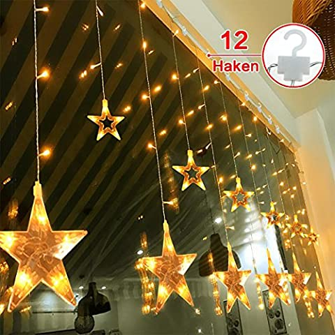 12 Sterne LED Lichtervorhang Lichterkette im Innen/Außen, MaLivent 2M 108Leds Niederspannung Sternenvorhang, wasserdicht nach IP65, 8 Fernbedienung Leuchtmodi, Weihnachtsdeko für Fenster Garten Zimmer Urlaub Halloween Weihnachten Hochzeit(Warmweiß)