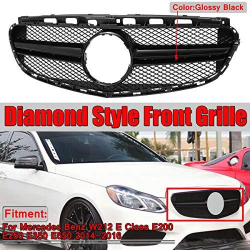 XDDXIAO Diamante Parachoques Delantero Parachoques Parrilla para Mercedes Benz W212 E Clase E200 E250 E350 E550 Look Style,Negro