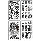 ejiubas moderno y geometría estilo placa de la imagen Stamping diseño de la placa doble cara Nail Art Nail Stamp Collection–Pack de 2