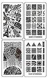 Ejiubas Modern & Geometrie-Stamping doppelseitig Design Nail Art Bild Teller Nail Stempel Collection - Pack von 2