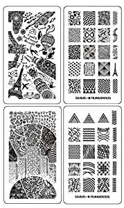 Ejiubas Nail Stamping Plates Double-sided Design Modern & Geometry Style Image Manicure Stamp Collection Kit - Pack of 2 Pcs with Card Case