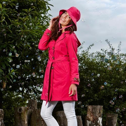HappyRainyDays - Femme | Manteau imperméable, trench-coat avec capuche Blanc