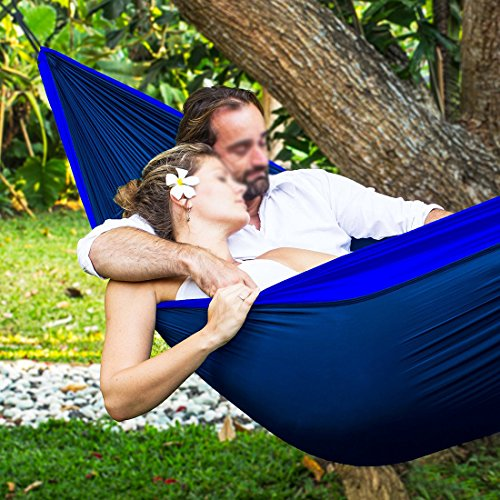 LAMURO Double 2 Person Hammock with Tree Straps, Caribiners, Anchors