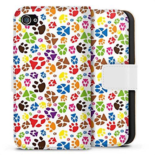 Apple iPhone X Silikon Hülle Case Schutzhülle Pfoten Bunt Hund Haustiere Sideflip Tasche weiß
