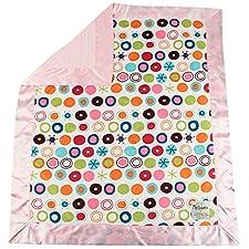 My Blankee Kreis O Le Minky weiß W/Minky Dot Rosa Baby Decke, 76,2x 88,9cm