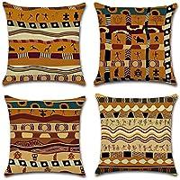 HuifengS - Fundas de cojín cuadradas de lino para sofás o camas, juego de 4 fundas de cojín, 45,7 x 45,7 cm