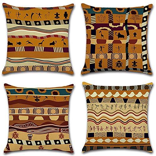 HuifengS Leinen Throw Kissen Kissenbezug, quadratisch Deko-Kissenbezug afrikanischen Stil für Sofas, Betten, Stühle Kissenhülle, Set mit 18x 18cm