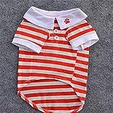 #4: Ocamo Summer Various Pet Cotton Lapel Clothes Small Dog Cat Striped Polo T-Shirt Apparel