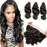 Daimer Loose Wave Brazilian Hair 3 Tissage Cheveux Humains Brésilien with 4x13 full Frontal en lot pas cher Naturel 22 24 26 +20 Frontal