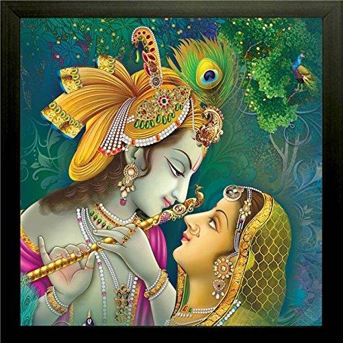 SAF 'Radha Krishna' Wall Painting (Synthetic, 30 cm x 30 cm x 2 cm)