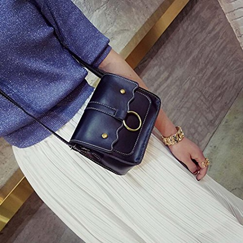 BZLine® Frauen Crossbody Messenger Telefon Münze Umhängetasche Taschen, 19cm *15cm *8cm Schwarz