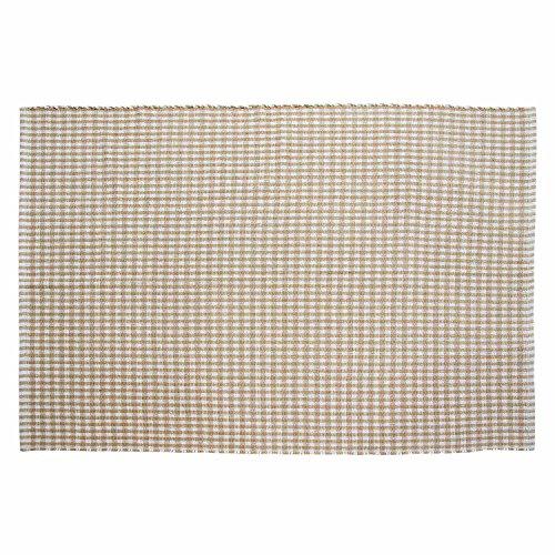Homescapes–100% Alfombra de algodón Gingham Check Tejido a Mano Beige Blanco–110x 170cm About 4x 6ft–Gran Alfombra Lavable en casa