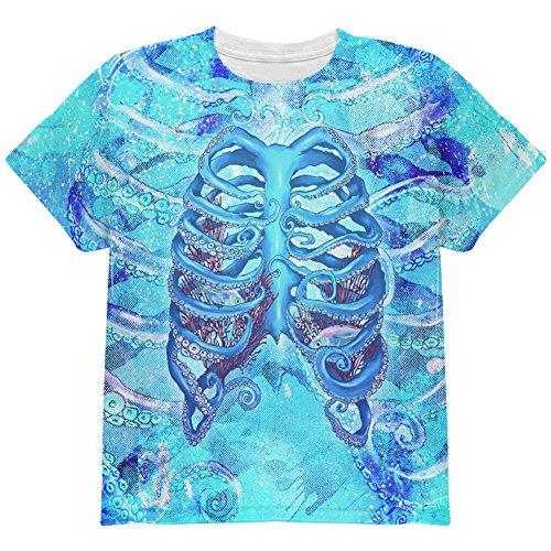 aken Skelett Rippen Kostüm auf der ganzen Jugend T Shirt Multi YSM (Oktopus Halloween-kostüm)